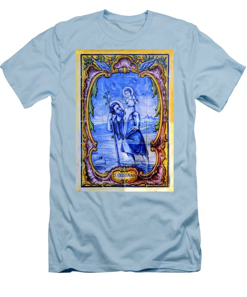 Saint Christopher Carrying The Christ Child Across The River - Near Entrance To The Carmel Mission Men's T-Shirt (Athletic Fit)