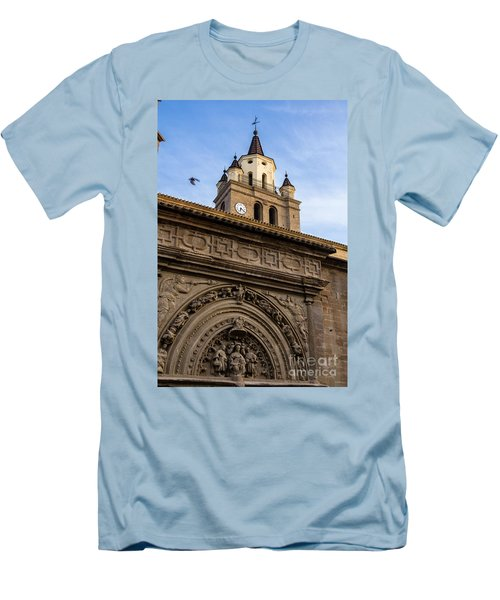 Men's T-Shirt (Slim Fit) featuring the photograph Saint Hieronymus Facade Of Calahorra Cathedral by RicardMN Photography