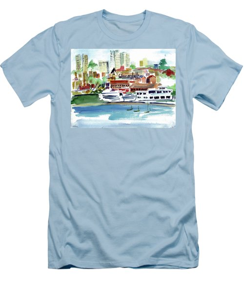 San Francisco Cityfront From Aquatic Park Men's T-Shirt (Slim Fit) by Tom Simmons