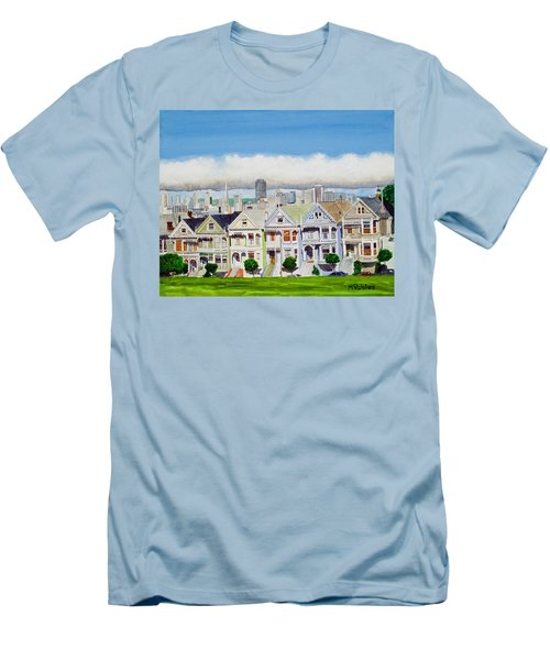 San Francisco's Painted Ladies Men's T-Shirt (Slim Fit) by Mike Robles