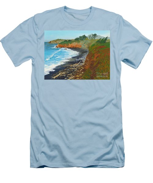 Men's T-Shirt (Slim Fit) featuring the painting San Simeon Ca Coast by Katherine Young-Beck