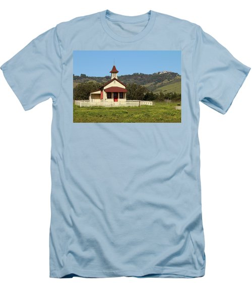 Men's T-Shirt (Slim Fit) featuring the photograph San Simeon - Castle And Schoolhouse by Art Block Collections
