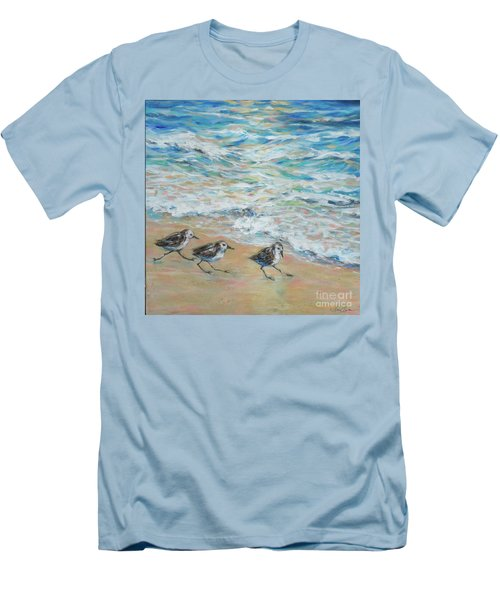 Sanderlings Running Men's T-Shirt (Slim Fit) by Linda Olsen