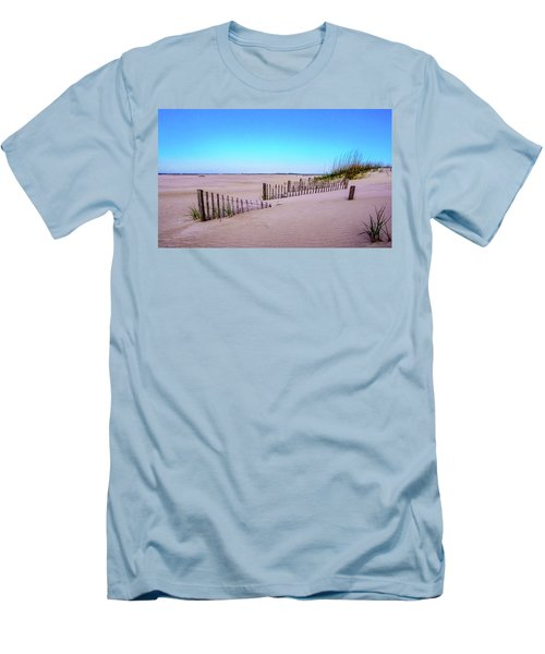 Men's T-Shirt (Slim Fit) featuring the photograph Sand  Fences On The Bogue Banks by John Harding
