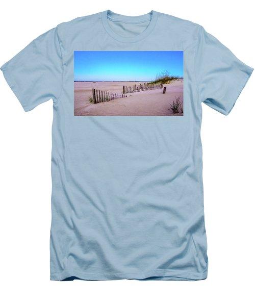 Sand  Fences On The Bogue Banks Men's T-Shirt (Slim Fit) by John Harding