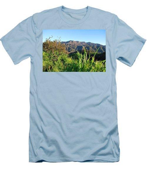 Men's T-Shirt (Athletic Fit) featuring the photograph Santa Monica Mountains Green Landscape by Matt Harang