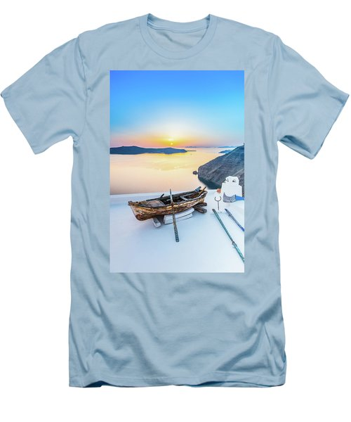 Santorini - Greece Men's T-Shirt (Slim Fit) by Stavros Argyropoulos