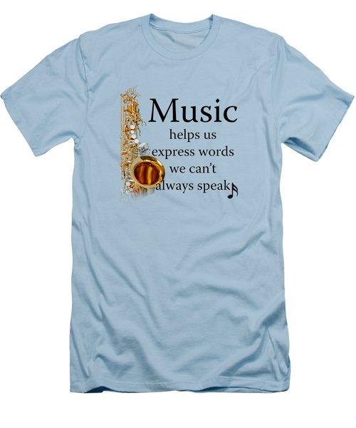 Saxophones Express Words Men's T-Shirt (Slim Fit) by M K  Miller