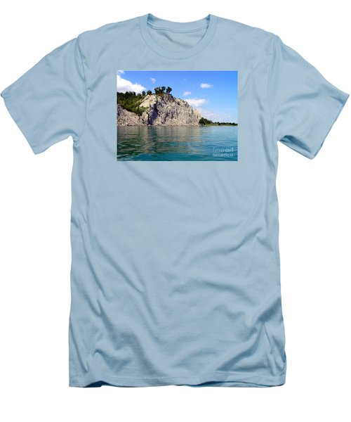 Men's T-Shirt (Slim Fit) featuring the photograph Scarborough Bluffs-lake View by Susan  Dimitrakopoulos