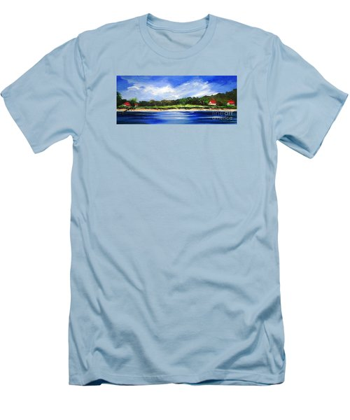 Men's T-Shirt (Slim Fit) featuring the painting Sea Hill Houses - Original Sold by Therese Alcorn