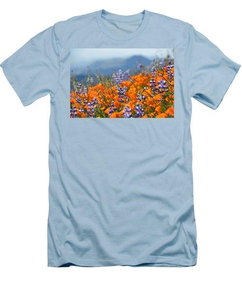 Sea Of California Wildflowers Men's T-Shirt (Slim Fit) by Kyle Hanson