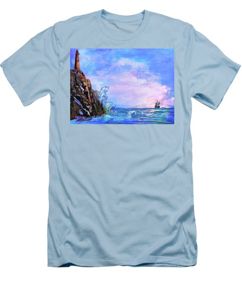 Men's T-Shirt (Slim Fit) featuring the painting Sea Stories 2  by Andrzej Szczerski