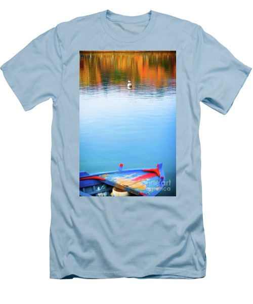 Men's T-Shirt (Athletic Fit) featuring the photograph Seagull And Boat by Silvia Ganora