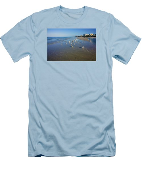 Seagulls And Terns On The Beach In Naples, Fl Men's T-Shirt (Slim Fit) by Robb Stan