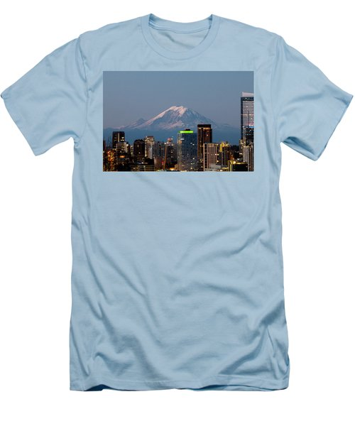 Men's T-Shirt (Slim Fit) featuring the photograph Seattle-mt. Rainier In The Morning Light.2 by E Faithe Lester