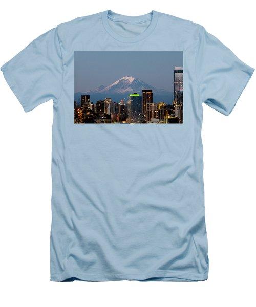 Seattle-mt. Rainier In The Morning Light.2 Men's T-Shirt (Slim Fit) by E Faithe Lester