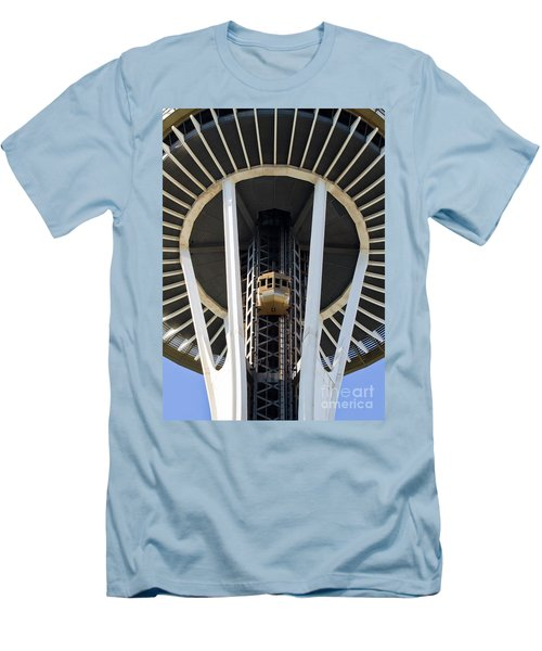 Men's T-Shirt (Slim Fit) featuring the photograph Seattle Space Needle Elevator by Chris Dutton