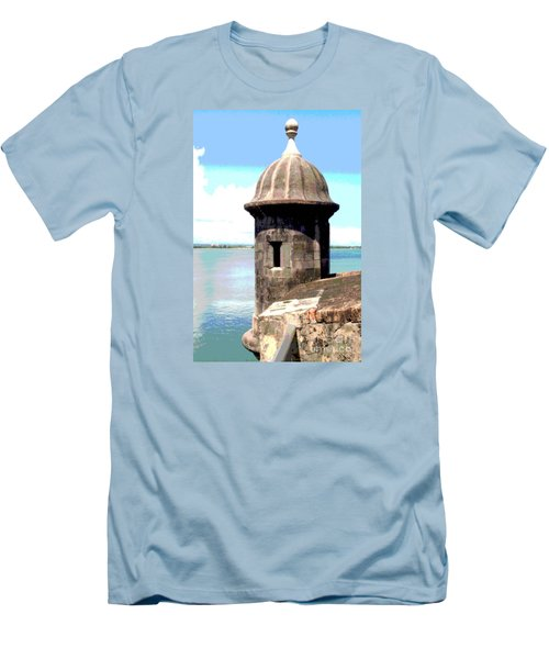 Men's T-Shirt (Slim Fit) featuring the photograph Sentry Box In El Morro by The Art of Alice Terrill