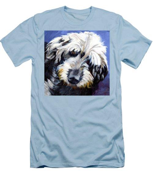 Shaggy Dog Portrait Men's T-Shirt (Slim Fit) by Alice Leggett
