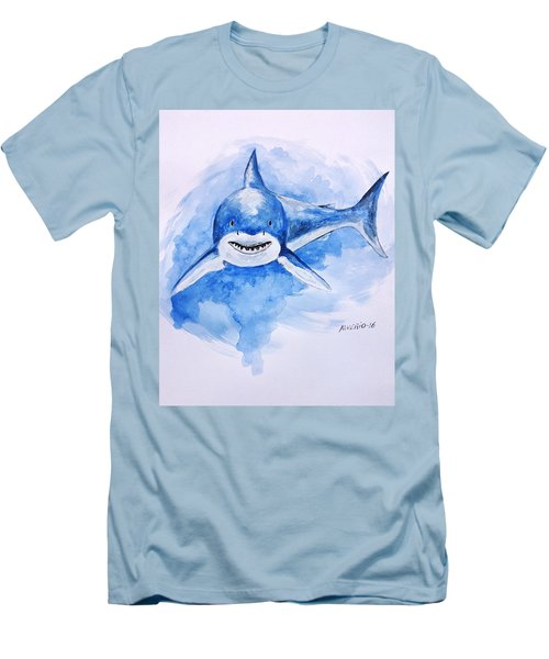 Men's T-Shirt (Slim Fit) featuring the painting Shark by Edwin Alverio