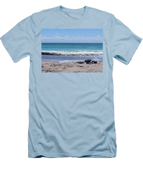 Men's T-Shirt (Slim Fit) featuring the photograph Shells On The Beach by Sandi OReilly