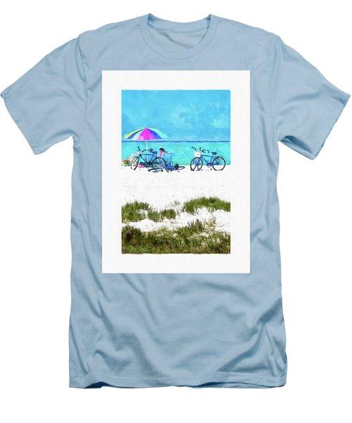 Siesta Key Beach Bikes Men's T-Shirt (Slim Fit) by Susan Molnar