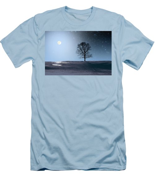 Men's T-Shirt (Slim Fit) featuring the photograph Single Tree In Moonlight by Larry Landolfi