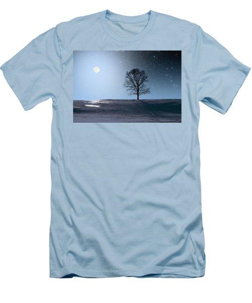 Single Tree In Moonlight Men's T-Shirt (Slim Fit) by Larry Landolfi