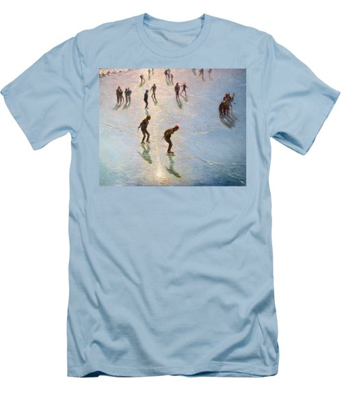 Skating In The Sunset  Men's T-Shirt (Slim Fit) by Pierre Van Dijk