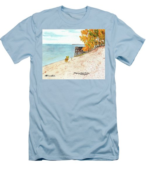 Sleeping Bear Dunes Men's T-Shirt (Slim Fit) by LeAnne Sowa