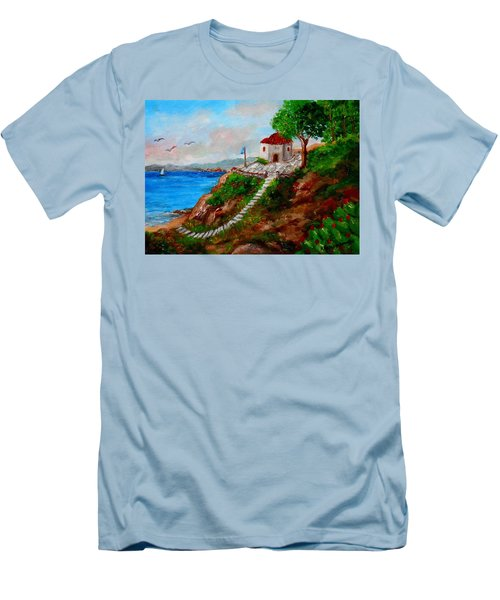 Small Church In Greece Men's T-Shirt (Athletic Fit)