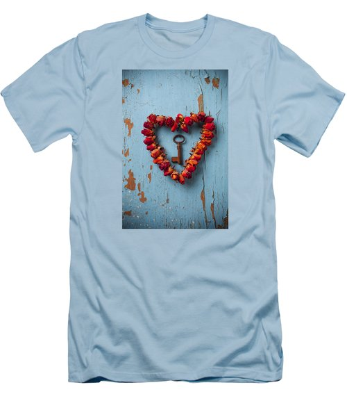 Small Rose Heart Wreath With Key Men's T-Shirt (Slim Fit) by Garry Gay