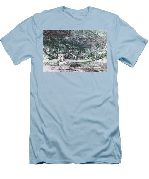 Men's T-Shirt (Slim Fit) featuring the photograph Smoky Mountain Fisherman by Mike Eingle