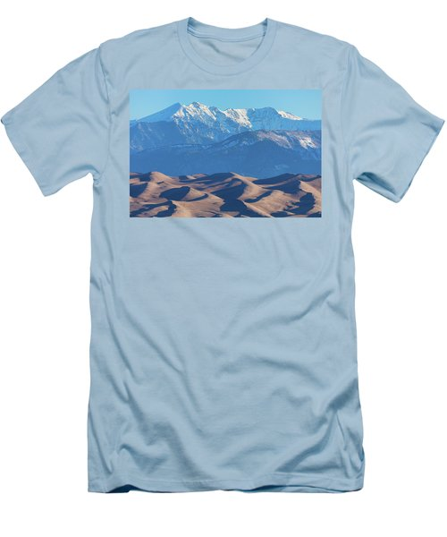 Snow Covered Rocky Mountain Peaks With Sand Dunes Men's T-Shirt (Slim Fit) by James BO Insogna
