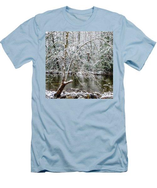 Men's T-Shirt (Slim Fit) featuring the photograph Snow Cranberry River by Thomas R Fletcher