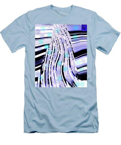 Men's T-Shirt (Slim Fit) featuring the digital art Snow On Ski Mountain by Marsha Heiken