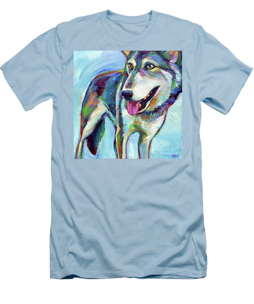 Men's T-Shirt (Slim Fit) featuring the painting Snow Wolf by Robert Phelps