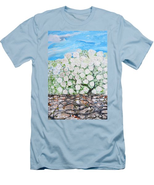 Men's T-Shirt (Slim Fit) featuring the painting Snowballs Flowers by Evelina Popilian