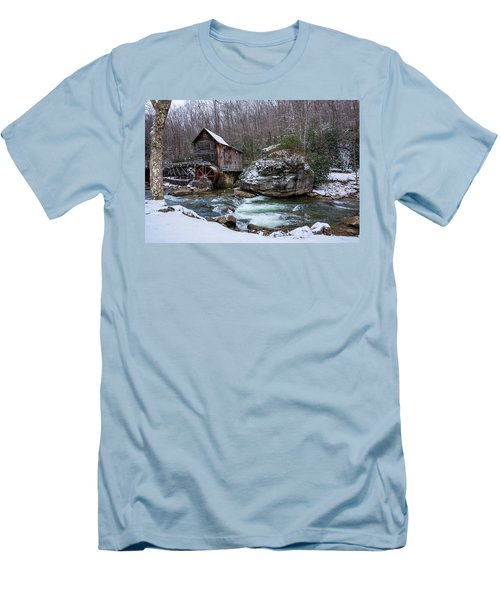 Snowing At The Mill  Men's T-Shirt (Slim Fit) by Steve Hurt