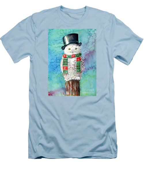 Snowman Owl Men's T-Shirt (Slim Fit) by LeAnne Sowa