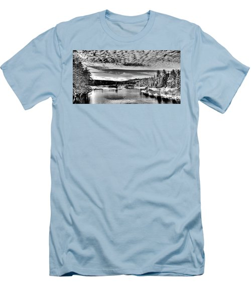 Snowy Day At The Green Bridge Men's T-Shirt (Slim Fit) by David Patterson