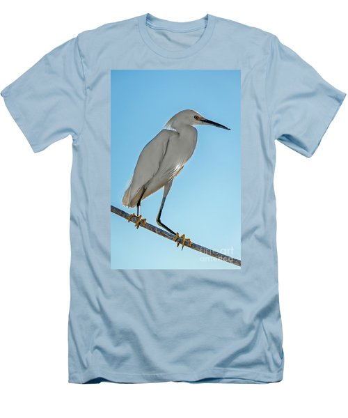 Snowy Egret Men's T-Shirt (Slim Fit) by Robert Bales