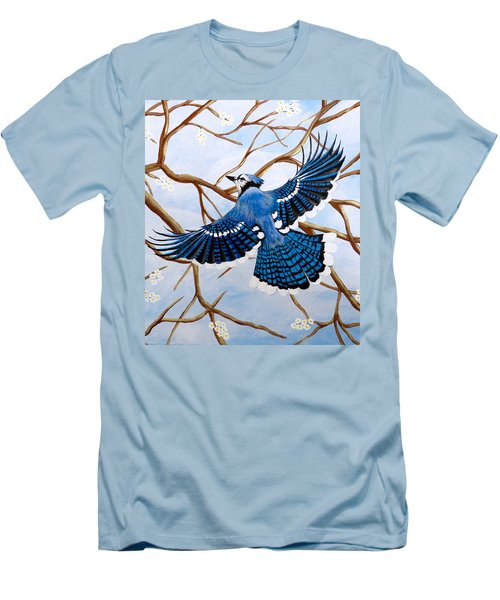 Men's T-Shirt (Slim Fit) featuring the painting Soaring Blue Jay  by Teresa Wing