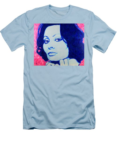 Men's T-Shirt (Athletic Fit) featuring the painting Sophia Loren Pop Art Portrait by Bob Baker