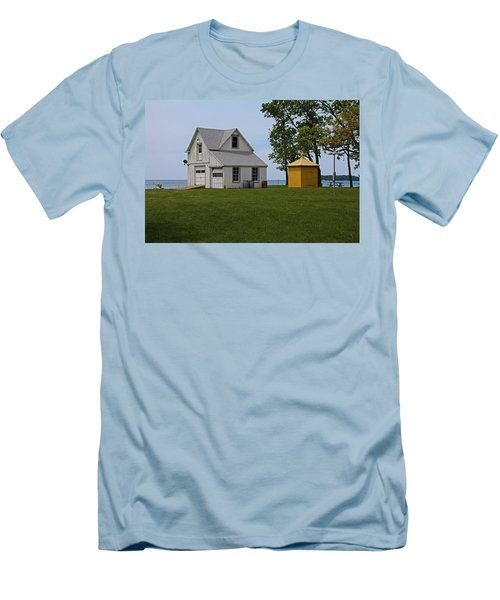 South Bass Island Lighthouse Barn And Oil Storage Building I Men's T-Shirt (Slim Fit) by Michiale Schneider