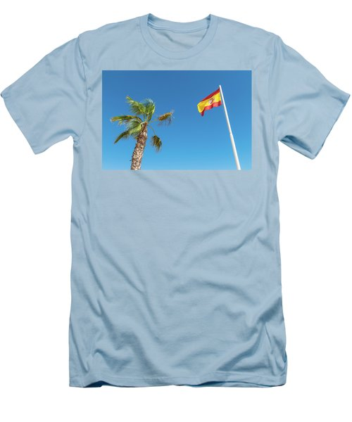 Spanish Flag And Palm Tree In The Blue Sky Men's T-Shirt (Slim Fit) by GoodMood Art