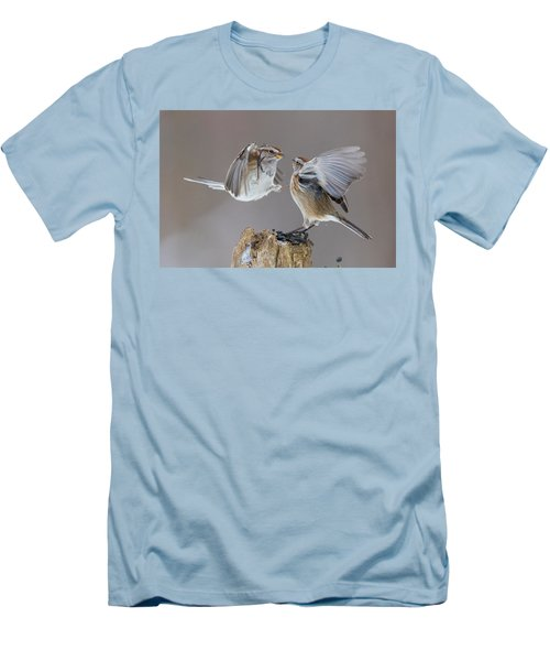 Men's T-Shirt (Slim Fit) featuring the photograph Sparrows Fight by Mircea Costina Photography