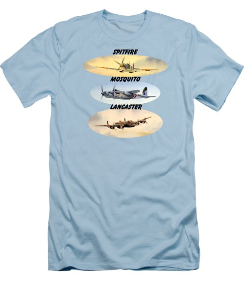 Spitfire Mosquito Lancaster Aircraft With Name Banners Men's T-Shirt (Slim Fit) by Bill Holkham