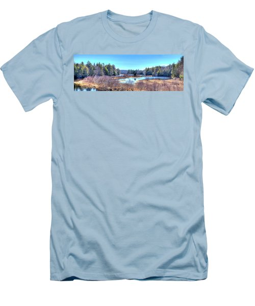 Men's T-Shirt (Slim Fit) featuring the photograph Spring Scene At The Tobie Trail Bridge by David Patterson