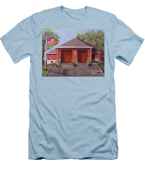 Spring Day At Willow Fire House Men's T-Shirt (Slim Fit) by Rita Brown